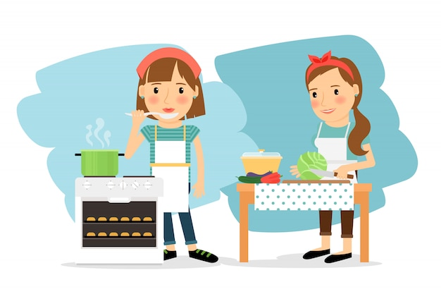 Moeder koken in de keuken