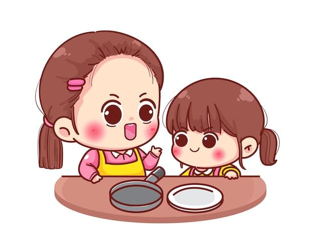 Moeder leert haar dochter hoe ze voedsel cartoon afbeelding moet koken