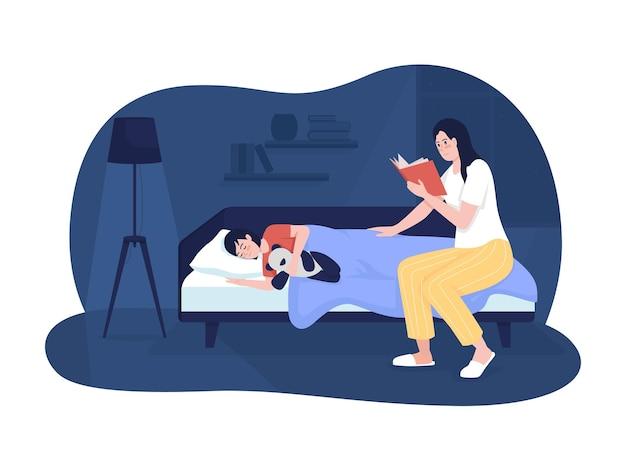 Moeder lees boek voor kind 2d vector geïsoleerde illustratie