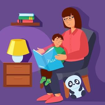 Moeder leesboek aan haar kleine zon. leuke vectorillustratie
