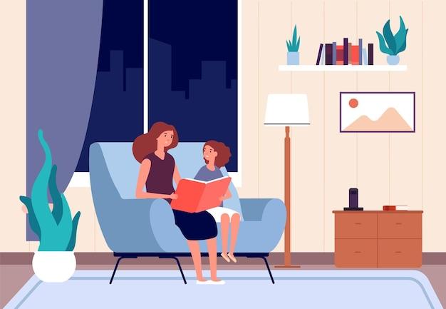 Moeder leesboek. moeder las verhaaltje voor voor het slapengaan aan haar dochter. Premium Vector