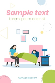 Moeder leest boek voor het slapengaan aan zoon illustratie