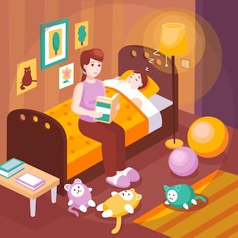 Moeder leest verhaaltjes voor het slapengaan