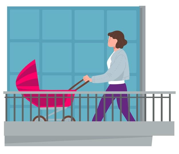 Moeder loopt met kinderwagen op balkon, coronavirus quarantaine en lockdown. vrouw met kinderwagen in huis terras, frisse lucht inademen. ouder en pasgeboren kind buitenshuis. vector in vlakke stijl