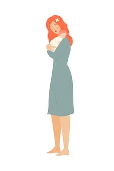 Moeder met baby moederdag moeder met een pasgeborene een vrouw met een kind de ouder houdt het kind vast