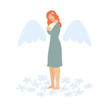 Moeder met baby moederdag moeder met een pasgeborene een vrouwelijke engel met een kind de ouder houdt vast