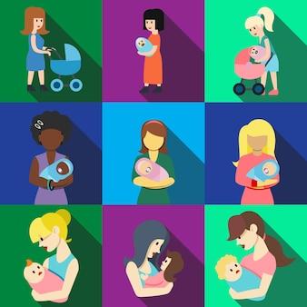 Moeder met baby plat pictogrammen set elementen, bewerkbare pictogrammen, kunnen worden gebruikt in logo, gebruikersinterface en webdesign