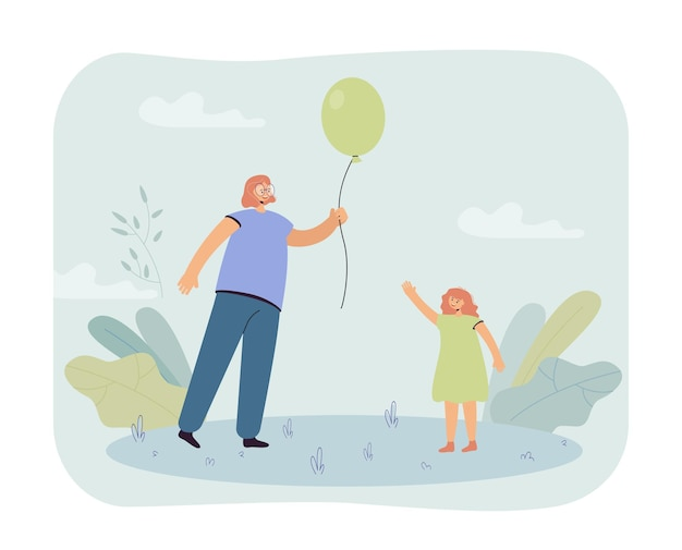 Moeder met ballon voor dochter