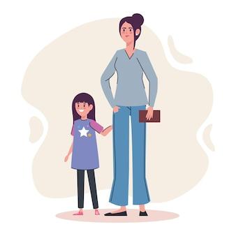 Moeder met dochter avatars-karakters