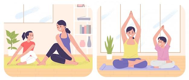 Moeder met dochter en zoon yoga als indoor activiteit