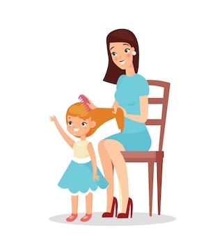 Moeder met dochter geïsoleerd op een witte achtergrond. moeder houdt haar dochter vast en speelt met haar, haar haren borstelen, gelukkige moeder en kind. flat cartoon stijl.