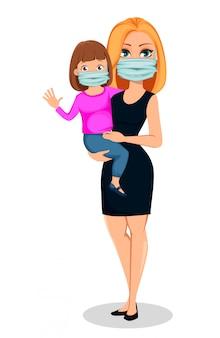 Moeder met dochter in medische maskers