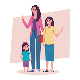 Moeder met dochters avatars-karakters