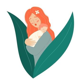 Moeder met een kind moederdag moeder houdt de baby vast vrouw met een pasgeborene gelukkig moederschap
