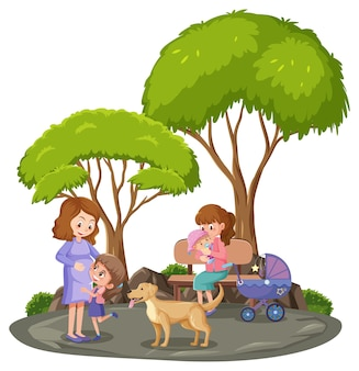 Moeder met haar baby in het park geïsoleerd