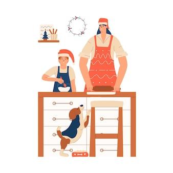 Moeder met haar zoon in schorten en rode hoed bereidt eten in de keuken voor kerstmis en nieuwjaar. koken gebakken goederen voor de vakantie. vectorillustratie in vlakke stijl
