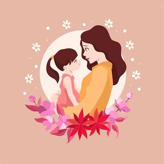 Moeder met kind met kind voor moederdag in platte kunststijl