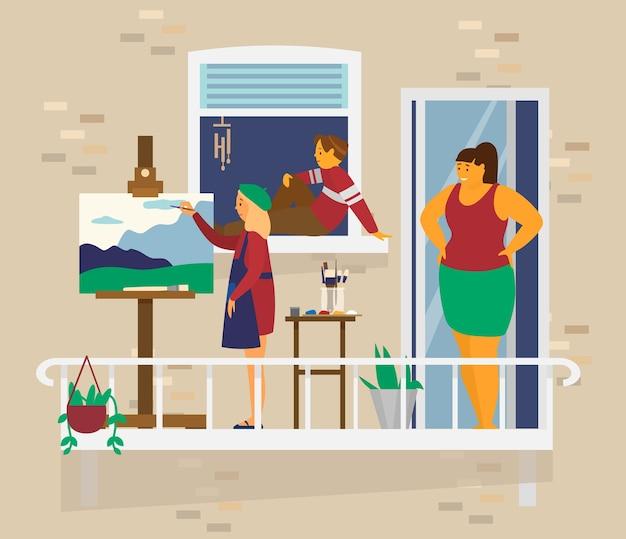 Moeder met kinderen op balkon. meisje schildert landschap, jongen zit op vensterbank, moeder kijkt naar haar kinderen. home activiteiten. blijf thuis concept. vlak