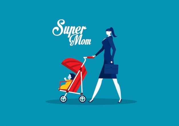 Moeder met kinderwagen, moederdag super moeder concept vector.