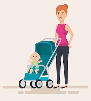 Moeder met kleine baby in cart karakters