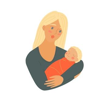 Moeder met pasgeboren baby moederdag cartoon mama met baby vrouw met een kind ouder houdt vast