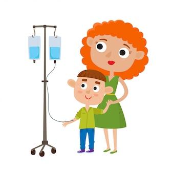 Moeder met zieke kleine geïsoleerde zoon
