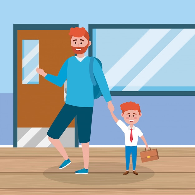 Moeder met zijn jongensstudent en koffer en klaslokaal