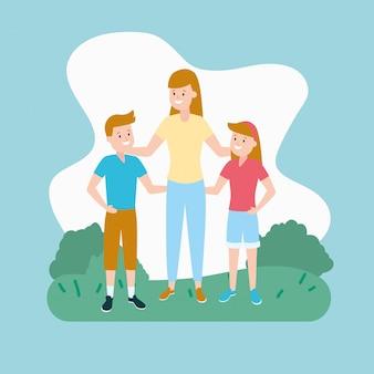 Moeder met zoon en dochter