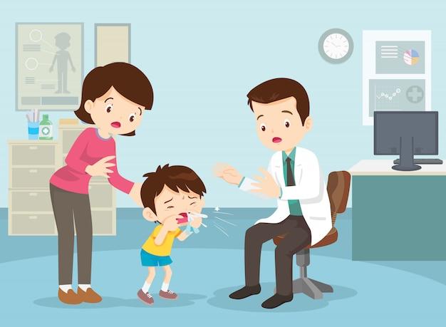 Moeder nam haar zoon mee naar de dokter