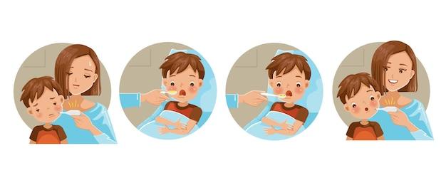 Moeder neemt temperatuur van zoon op. kind dat medicijnen inneemt met een lepel.