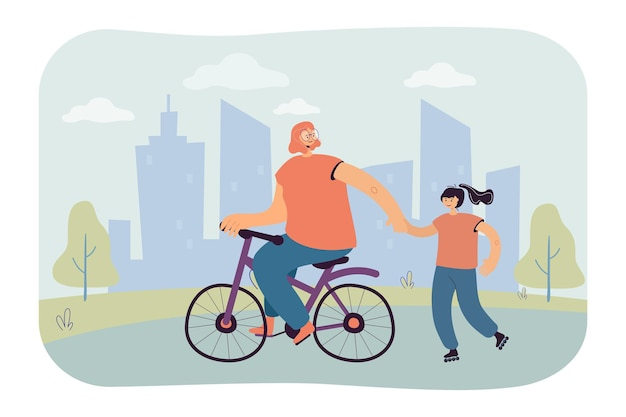 Moeder op fiets en dochter op rolschaatsen in park