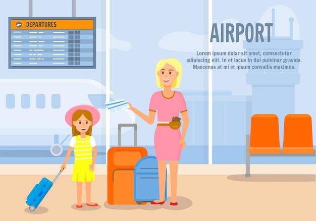 Moeder reist met kleine dochter per vliegtuig.