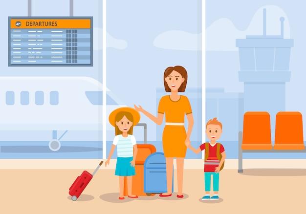 Moeder reist met zoon en dochter door vliegtuig.