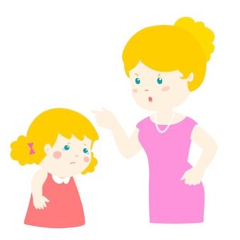 Moeder scheldt haar dochter uit