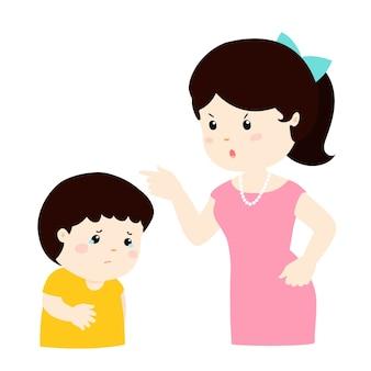 Moeder scheldt haar zoon uit