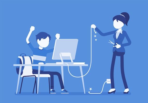 Moeder snijdt computerdraad door. boze moeder moe met haar tienerzoon overmatig gebruik, negatieve gevoelens over niet buiten lopen, gamen op internet. illustratie met gezichtsloze karakters