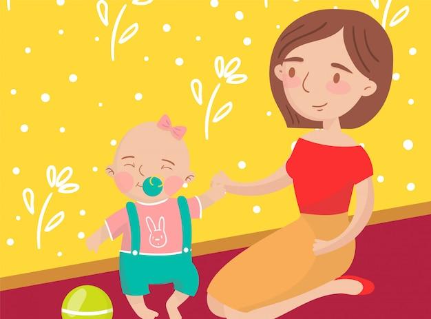 Moeder speelt bal met haar zoontje foto, beste momenten op foto's, portret van familieleden illustratie
