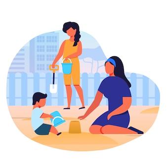 Moeder speelt met kinderen in zandbak vlakke afbeelding