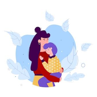 Moeder stripfiguur knuffelen haar baby kind, illustratie geïsoleerd.