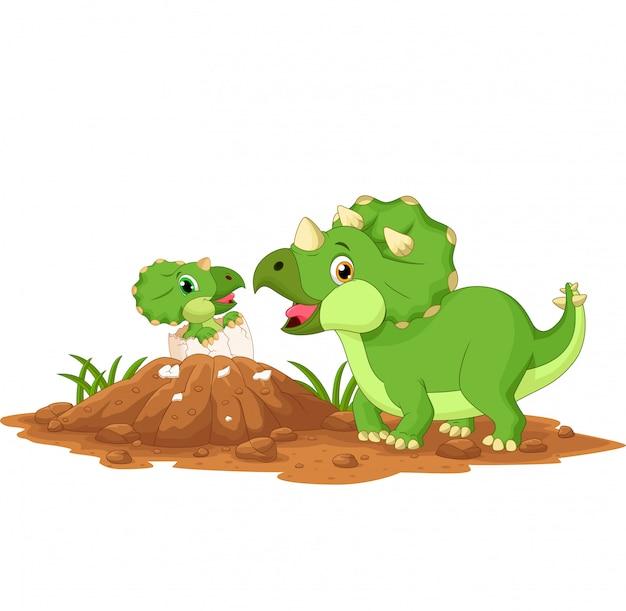 Moeder triceratops met baby broedeieren