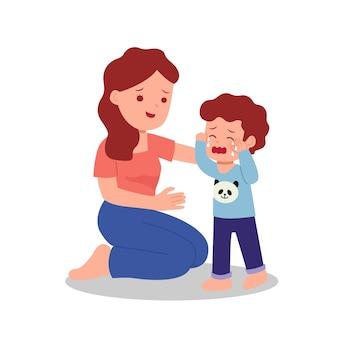 Moeder troost haar zoon huilen. ouder met kinderen. ouderschap illustraties.