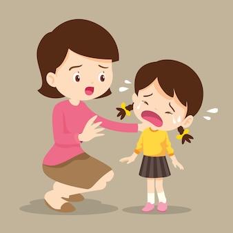 Moeder troostend huilend meisje Premium Vector