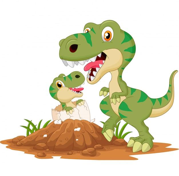 Moeder tyrannosaurus met baby broedeieren