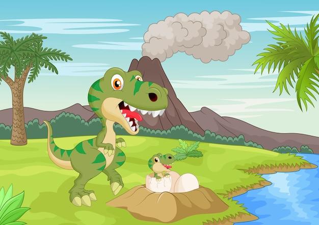 Moeder tyrannosaurus met baby uitbroeden