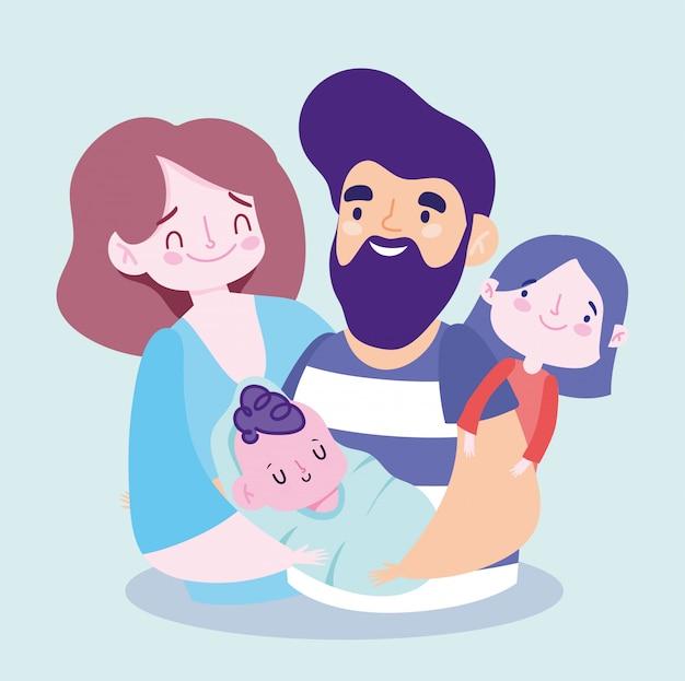 Moeder vader dochter en baby ontwerp