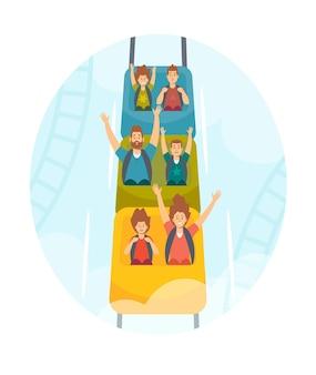 Moeder, vader en kinderen personages rijden achtbaan, familie extreme recreatie in pretpark, kermis carnaval