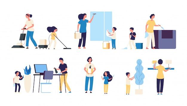Moeder vader kinderen schoonmakers huishoudelijk werk stofzuigen