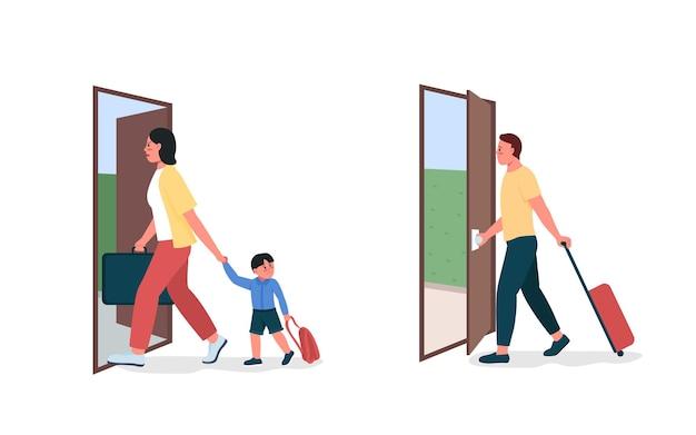 Moeder, vader verlaat een gedetailleerde tekenset in platte kleur