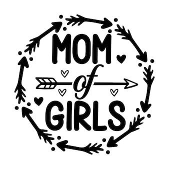 Moeder van meisjes met unieke stijl premium vector-ontwerp