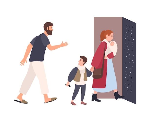 Moeder verlaat het huis met kinderen, vader blijft alleen. conflict tussen ouders. echtgenoten gaan uit elkaar. ongelukkig huwelijk, relatieprobleem in familie, echtscheiding. platte cartoon vectorillustratie.